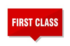 First class red tag. First class red square price tag Royalty Free Stock Photography