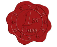 First Class Red Wax Seal Stock Photo