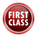 First Class round metallic red button. Vector icon Stock Photography