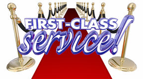 First Class Service Red Carpet Treatment Words Stock Image
