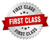 First class. Silver badge with red ribbon Royalty Free Stock Photos