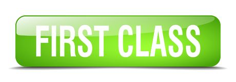 First class button. First class square 3d realistic isolated glass web button. first class Royalty Free Stock Images