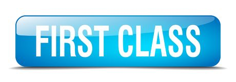 First class button. First class square 3d realistic isolated glass web button. first class Royalty Free Stock Image