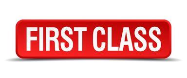 First class button. First class square 3d realistic isolated web button. first class Royalty Free Stock Photo