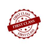 First class stamp illustration. First class red stamp seal illustration design Stock Photos