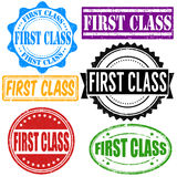 First class stamp set. First class vintage grunge rubber stamps set on white, vector illustration Stock Photo
