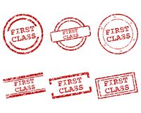 First class stamps. Detailed and accurate illustration of first class stamps Stock Photos