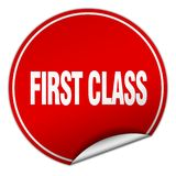 First class sticker. First class round sticker isolated on wite background. first class Royalty Free Stock Photography