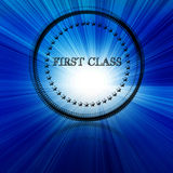 First class symbol. On a blue background Stock Photography