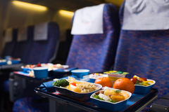 First Class Travel. Dinner for passengers Stock Photo