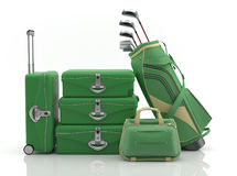 First class trip 5 stars - Golf course. Set of luggage and golf clubs. Sports Vacations. Executives in Action Stock Photography