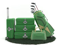 First class trip 5 stars - Golf course. Set of luggage and golf clubs. Sports Vacations. Executives in Action Stock Photos