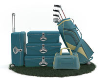 First class trip 5 stars - Golf course. Set of luggage and golf clubs. Sports Vacations. Executives in Action Royalty Free Stock Images