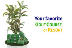 First class trip 5 stars - Golf course. Set of luggage and golf clubs. Sports Vacations. Executives in Action Stock Image