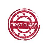 `First class` vector rubber stamp. Label design ready made template Royalty Free Illustration
