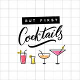 But first cocktails. Funny inscription for bar wall art decoration. Embossed tape and brush calligraphy on squared paper. Cocktail glasses illustration Royalty Free Stock Photo