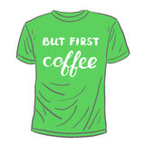 But first coffee. Brush hand lettering. Stock Image