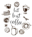 But first coffee card. Modern calligraphy with doodle coffee pattern. Hand drawn lettering. Vector Royalty Free Stock Images