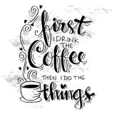 But first coffee. Hand lettering calligraphy Royalty Free Stock Photos