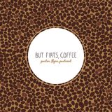 Roasted coffee beans. Copy space. Seamless pattern. But first, coffee. Flyer or poster. Roasted coffee beans background. Warm brown colors. Copy space. Coffee Stock Photos