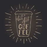 But first coffee. Hand draw lettering about coffee in vector. Quote coffee is always a good idea. Best for cafe, bar, chalk board, print design, web, menu Royalty Free Stock Photos
