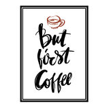 But first Coffee postcard hand drawn  background Stock Image