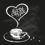 First coffee quote on chalk bord background. First coffee quote on chalk bord background with hand drawn cup. Hand drawn lettering vector illustration. Banner Royalty Free Stock Photos