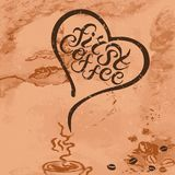 First Coffee quote with heart. On textured background. Hand drawn lettering vector illustration. Banner, poster, web, menu, coffee shop, card template Stock Photo
