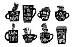 Free First Coffee Time Cup Joy Break Quote Lettering Royalty Free Stock Photography - 162592527