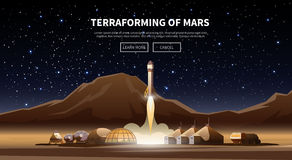 The first colonies. Terraforming of mars. Fat vector web banner on the theme of astronomy, space exploration, colonization of Mars. Space adventure. The first Stock Photography