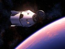 First Commercial Spacecraft Orbiting Blue Planet Earth. Commercial Spacecraft Orbiting Planet Earth. 3D Illustration stock illustration