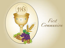 First communion. Illustration for first communion with chalice Stock Photos