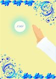 First communion. Background with characteristic symbols of holy Communion Stock Image