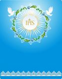First communion,. Background with characteristic symbols of holy Communion Stock Images