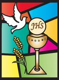First communion background. Illustration for first communion with chalice, host and dove Stock Photos