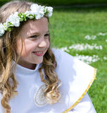 First Communion beautiful girl Stock Images
