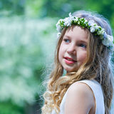 First Communion beautiful girl Royalty Free Stock Photo