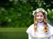 First Communion beautiful girl Royalty Free Stock Images