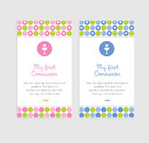 First Communion Card. Cute chalice Communion or Confirmation invitation Royalty Free Stock Images