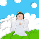 First communion card angel. First communion card lovely angel Royalty Free Stock Photo