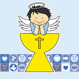 First communion card. Angel on the holy grail Royalty Free Stock Photography