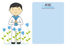 First communion card. Boy with flowers and blank space for text Royalty Free Stock Photos