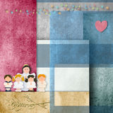First communion card, children and angel. In cheerful background papers Royalty Free Stock Photography