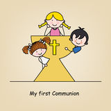 First communion card. Children in the holy grail Stock Image