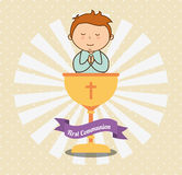 First communion card design. Vector illustration eps10 graphic Royalty Free Stock Photo