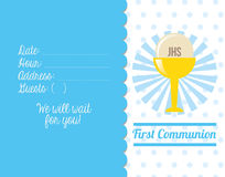 First communion card design. Vector illustration eps10 graphic Royalty Free Stock Images