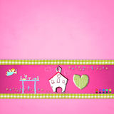 First communion card for girl. First communion card, religious symbols on pink paper for girl Stock Photography