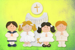 First communion card, a group of children Stock Photos