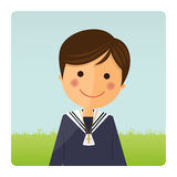 First communion child foreground on blue sky background. Illustration Royalty Free Stock Photography