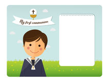 First communion child foreground invitation Stock Photo